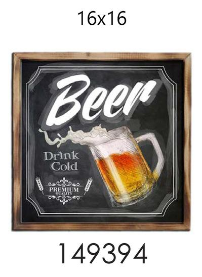 CADRE PUB - BEER DRINK COLD- 16X16  (#201)