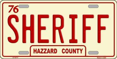 #849-2 Plaque d'auto SHERIFF Hazzard County