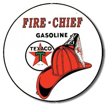 Texaco - Fire-Chief Gasoline - Round Tin Sign 12