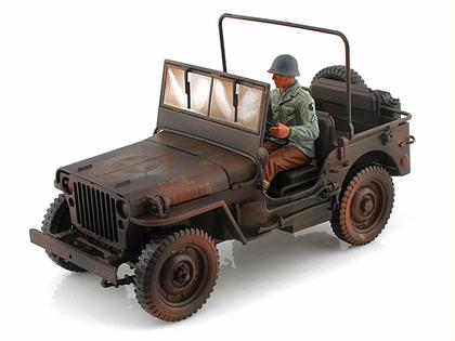Willys 1/4 Ton US Army Jeep (Weathered w/ Figure)