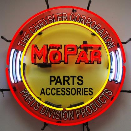 MOPAR RED CIRCLE WITH BACKING NEON SIGN