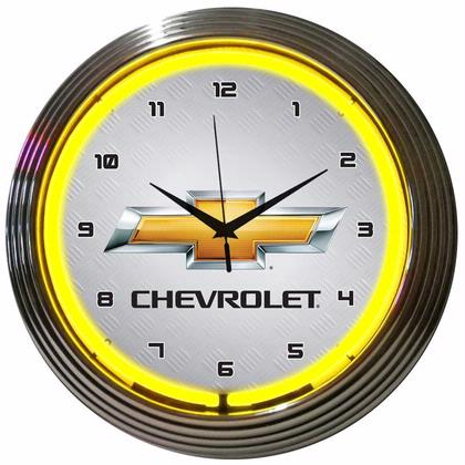 GM Chevrolet Yellow Neon Clock (Chevy)