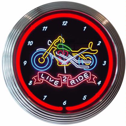 Live 2 Ride Motorcycle Neon Clock