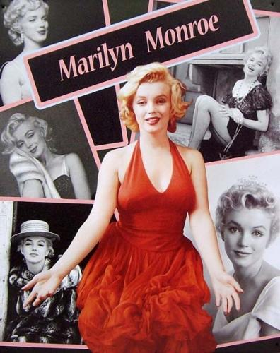 Marilyn Monroe - Red dress on black and white background