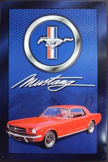 Blue Tin Sign With Red Mustang