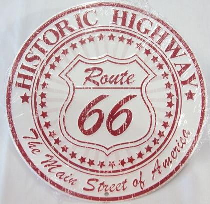 Route 66 Historic Highway (Round Tin Sign)