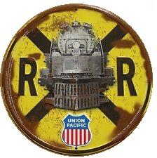 Rail Road Crossing Union Pacific (Round Tin Sign)