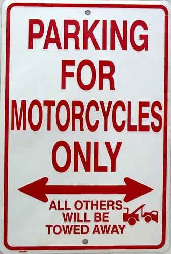 Parking For Motocycles Only (Embossed)