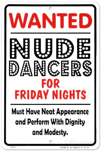 Wanted - Nude Dancers (Embossed)