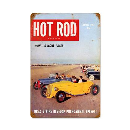 Hot Rod Magazine - Drag Strips (Apr. 1951) Cover  **Shield Metal Sign**