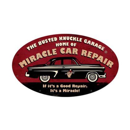 Busted Knuckle Garage - Miracle Car Repair  **Shield Metal Sign**