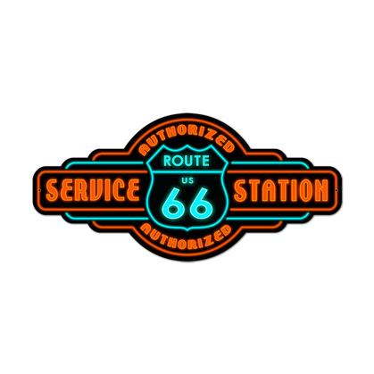 Route 66 Service Station  **Shield Metal Sign**