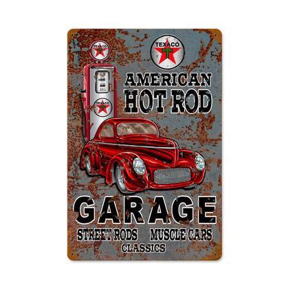 Texaco Hot Rod Garage  **Shield Metal Sign**
