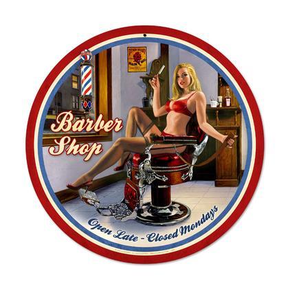 Barber Shop  **Shield Round Metal Sign**
