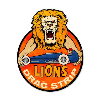Lions Drag Strip  **Shield Metal Sign**