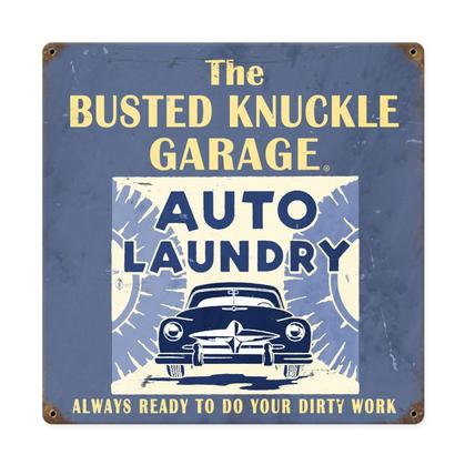 Busted Knuckle Garage - Auto Laundy  **Shield Metal Sign**