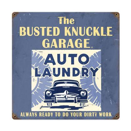 Busted Knuckle Garage Auto Laundy Enseigne En Metal Epais