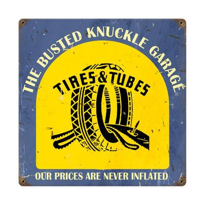 Busted Knuckle Garage - Tire & Tubes  **Shield Metal Sign**