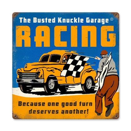 Busted Knuckle Garage - Racing  **Shield Metal Sign**