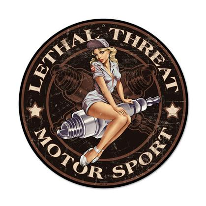Spark Plug Pinup - Lethal Threat Motor Sport  **Shield Metal Sign**