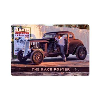 The Race Poster  **Shield Metal Sign**