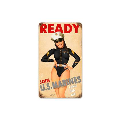 Ready - USMC Girl  **Shield Metal Sign**
