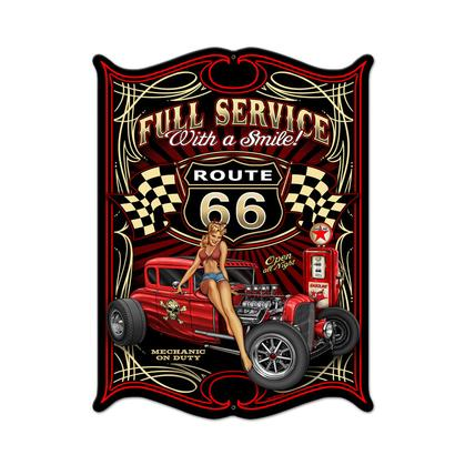 Full Service - Route 66  **Shield Metal Sign**