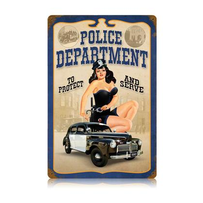 Police Pin Up  **Shield Metal Sign**