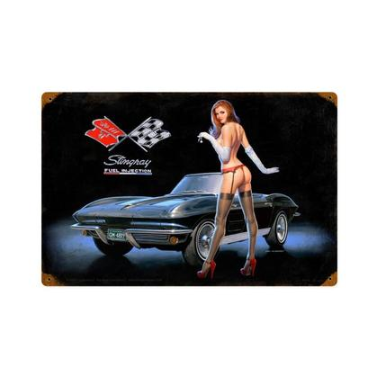 Corvette Stingray Fuel Injection  **Shield Metal Sign**