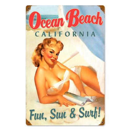 Ocean Beach California Pin up  **Shield Metal Sign**
