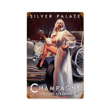 Silver Palate Champagne  **Shield Metal Sign**
