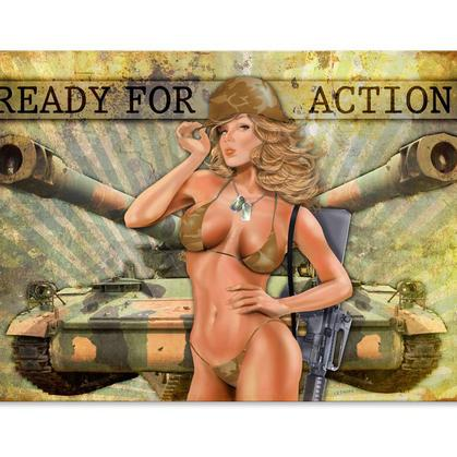 Ready for Action  **Shield Metal Sign**