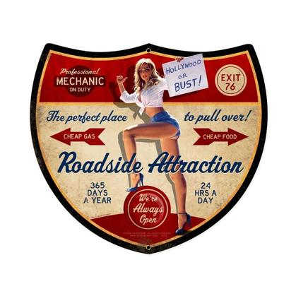 Roadside Attraction  **Shield Metal Sign**