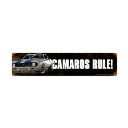 Camaros Rule  **Shield Metal Sign**