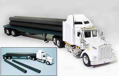 Kenworth W900 Flatbed Trailer w/Long Pipe