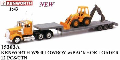 Kenworth W900 Lowboy Trailer w/Backhoe Loader