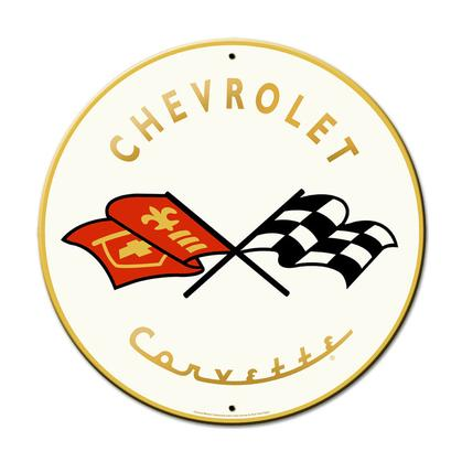 Chevrolet Corvette  **Round Shield Metal Sign**