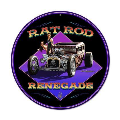 Rat Rod Renegade  **Round Shield Metal Sign**
