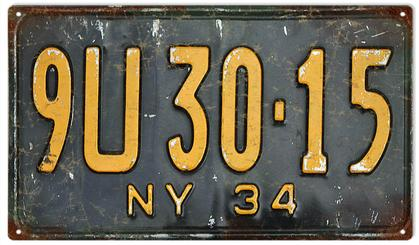 Old NY License Plate