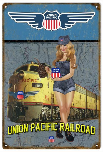 Union Pacific Railroad Pin Up Girl