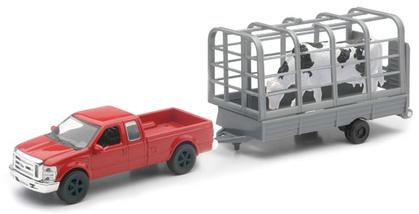Ford F-250 Super Duty with Trailer and Cow