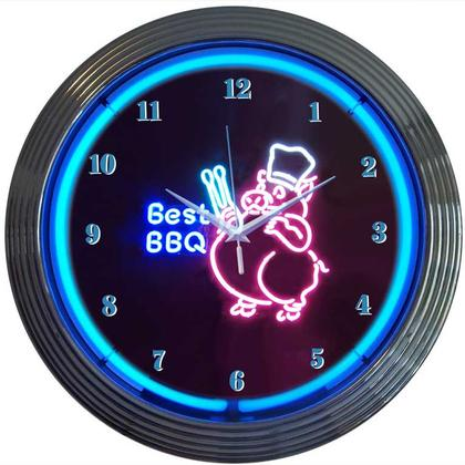 Neon Clock Best BBQ Pig