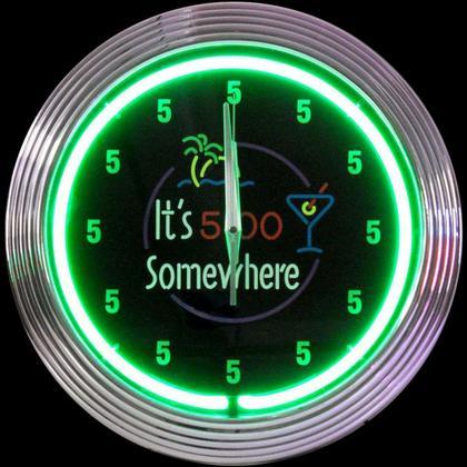 Neon Clock 5 o'clock Somewere