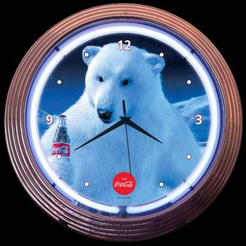 Neon Clock Coca-Cola Polar Bear