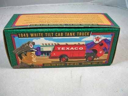 TEXACO 1949 WHITE TILT CAB TANK TRUCK BANK