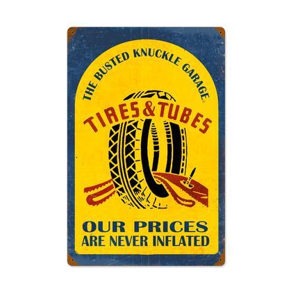 Busted Knuckle Garage - Tire & Tubes **Enseigne en Métal Épais**