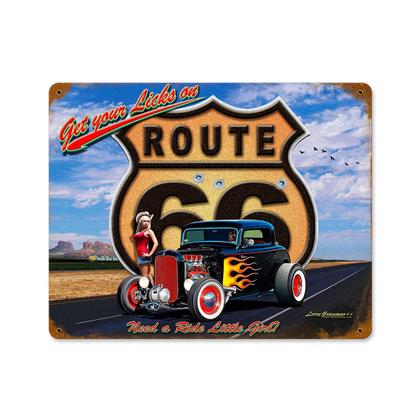 Get Your Licks On Route 66 - **Shield metal Sign**