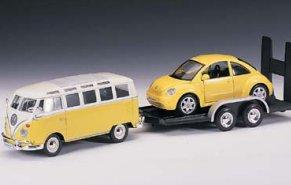 Volkwagen Van Samba and New Beetle on Trailer