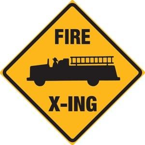 Fire Truck X-ing (Crossing) (Embossed)
