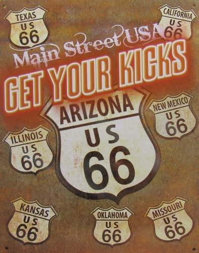 Route 66 METAL SIGN - MAIN STREET USA